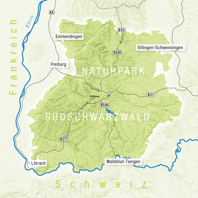 Südschwarzwald Karte.Naturpark Südschwarzwald Allgemeines